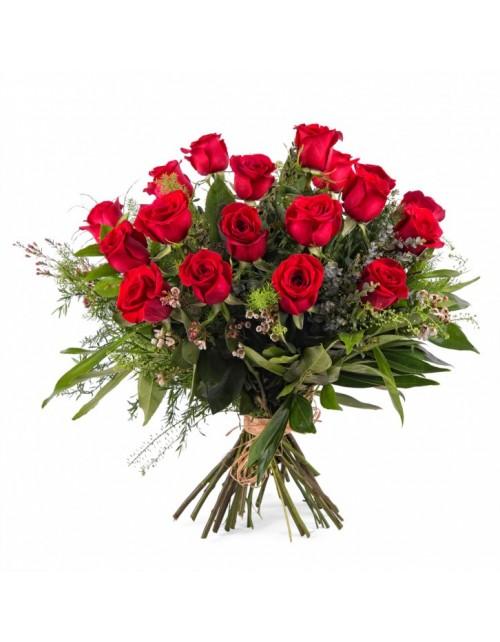Ramo 18 Rosas Rojas Tallo largo
