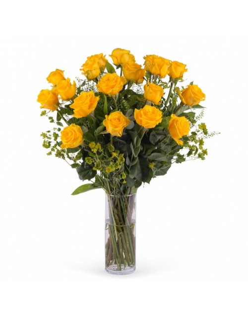 Ramo 18 Rosas Amarillas Tallo LArgo