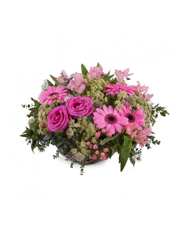 Cesta Floral con rosas y gerberas