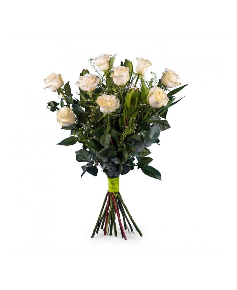 Ramo 9 Rosas Blancas