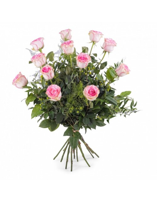 Ramo 12 Rosas Rosa Tallo Largo