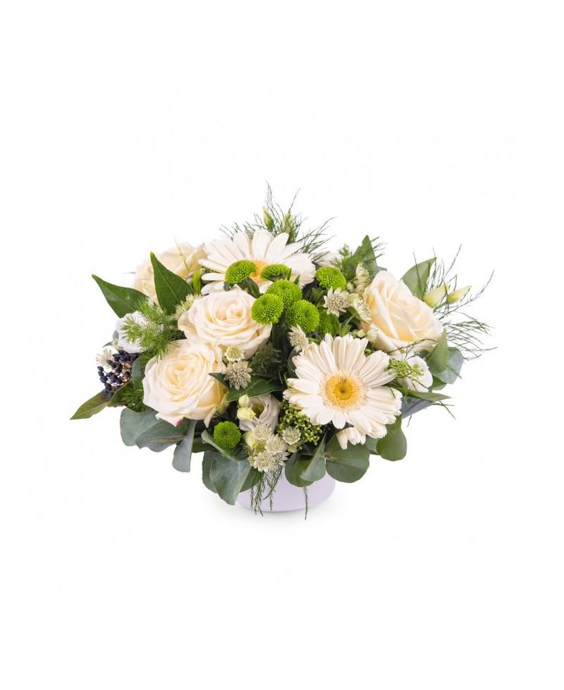 Centro Gerberas y Rosas Blancas